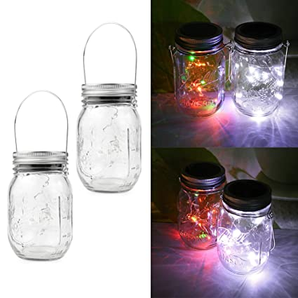 Mason Jar Lights LED Solar Tapa impermeables Hanging Light ...