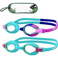 Monkey Forest Kid Swim Goggles, 2 Packs Anti-Fog Leak Kids Swimming Goggles, Adjustable Strap Flexible Nose Bridge…