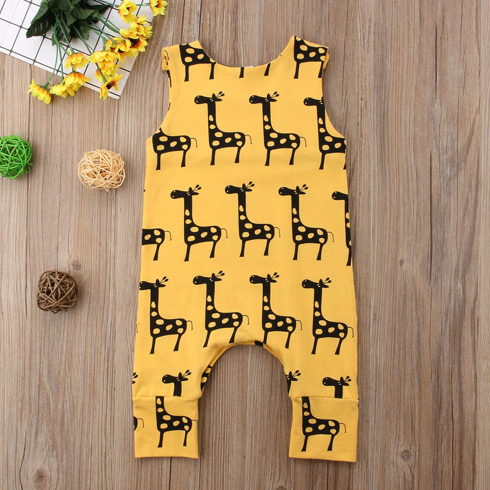 Toddler Baby Girl Animal Jumpsuit Summer Sleeveless Backless Striped Cat Print Romper Long Pants Suit