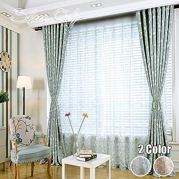 Winyy Modern Rustikal Blumenmuster Sheer Tüll Gardinenstange Pocket Top  Kinder Schlafzimmer Wohnzimmer DIY Voile Vorhänge Schatten