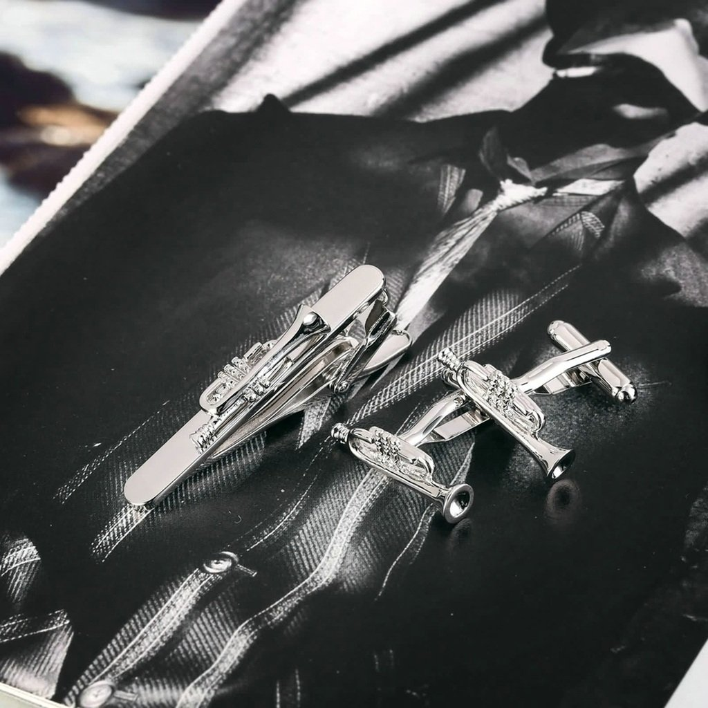 Epinki Mens Stainless Steel Silver Polished Trumpet Jazz Music Cufflinks and Tie Clip Set