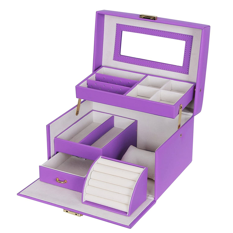 SONGMICS Jewelry Box Girls Jewelry Organizer Lockable Mirrored Storage Case for Women Black UJBC114