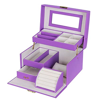 Amazoncom SONGMICS Girls Jewelry Box Lockable Jewelry Organizer