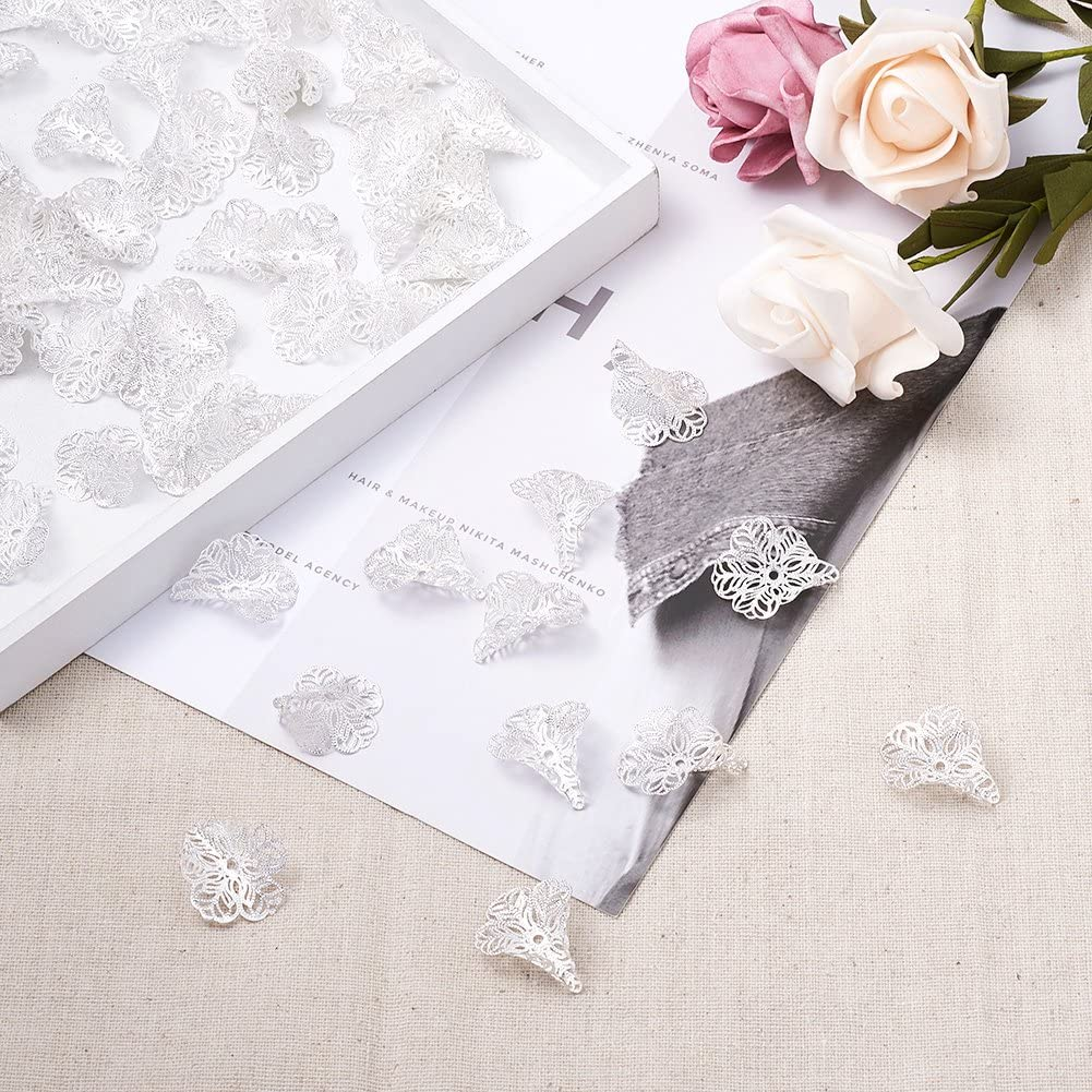 1.2mm Craftdady 100Pcs Silver Filigree Flower Spacer Cone Bead Caps Metal End Caps 29x24mm for Jewelry Making Hole