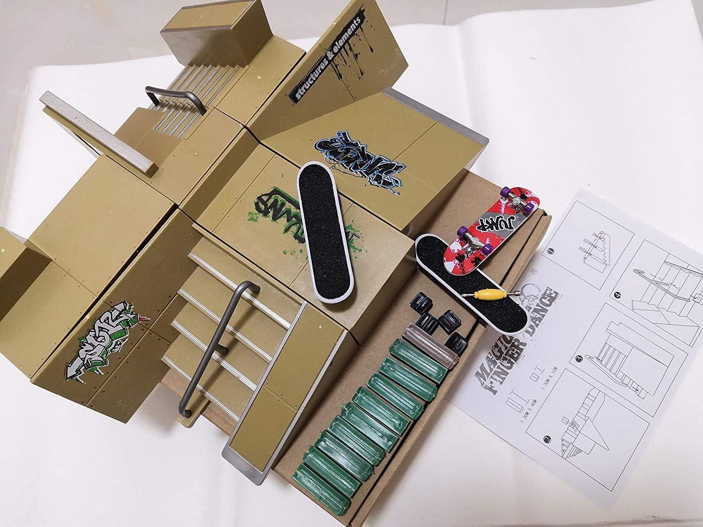 Skate Park Ramp Parts for Tech Deck Mini Fingerboard Finger Board w// Boards Set