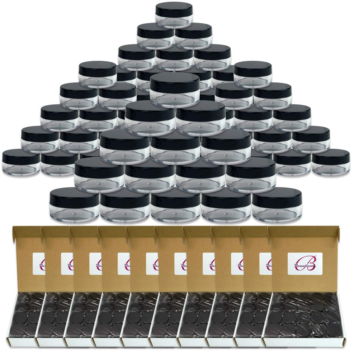 (Quantity: 600 Pieces) Beauticom 10G/10ML Round Clear Jars with Black Lids for Herbs, Spices, Loose Leaf Teas, Coffee and Other Foods - BPA Free