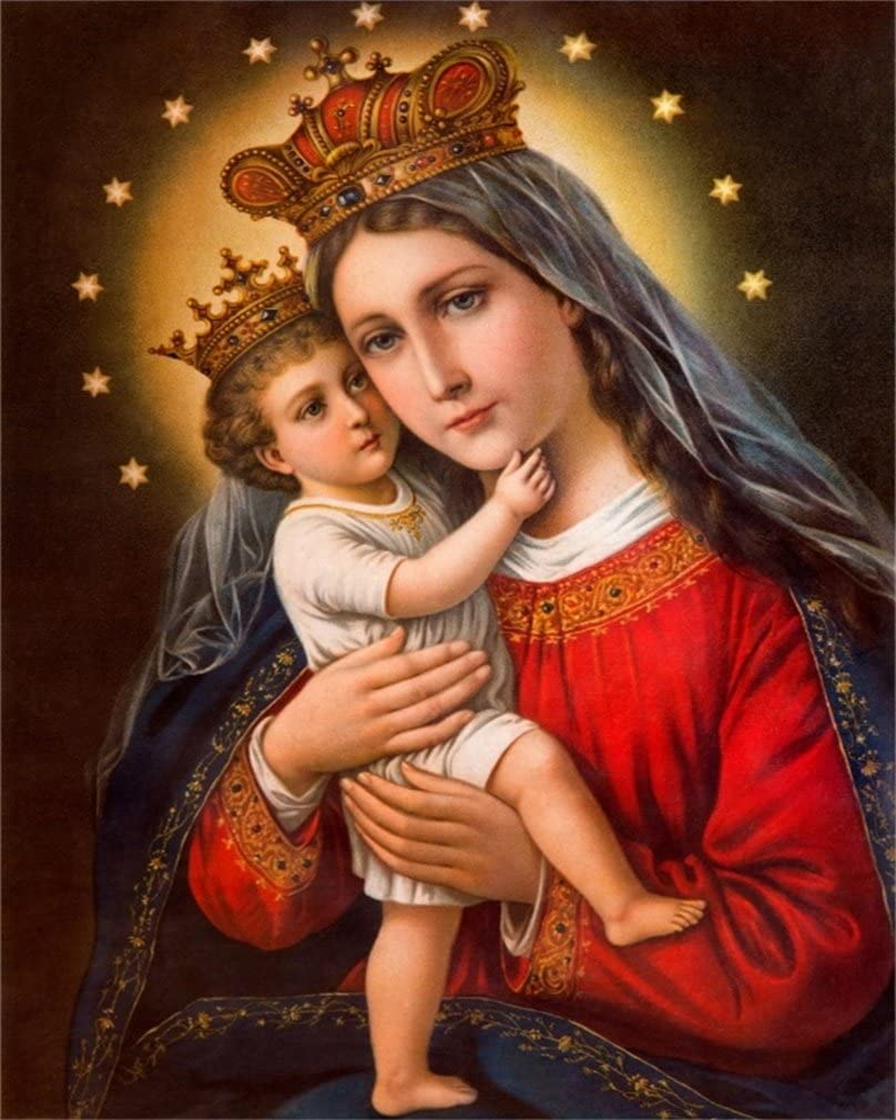 3x5ft Polyester Backdrop Photography Background Virgin Mary and Christ Child Oil Painting Wallpaper Jesus Christ Ancient Italy Background Photo Studio Prop Children Adult Belief