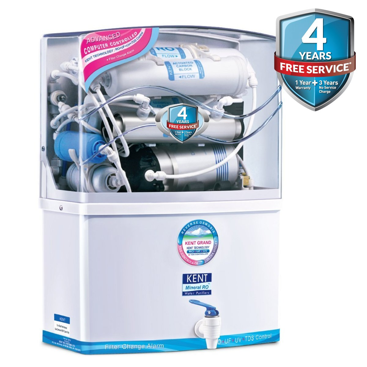 Kent Grand 8 Litres Wall Mountable Ro Uv Uf Tds Water Purifier Drinking Alarm Circuit Home Kitchen