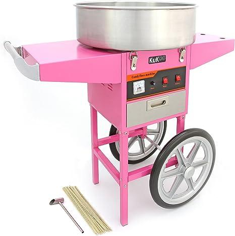 KUKOO Máquina de Algodón de Azúcar Acero Inoxidable Máquina Eléctrica para Hacer Algodón de Azúcar Cotton Candy Machine Commercial (con Cubierta y Carrito): Amazon.es: Juguetes y juegos