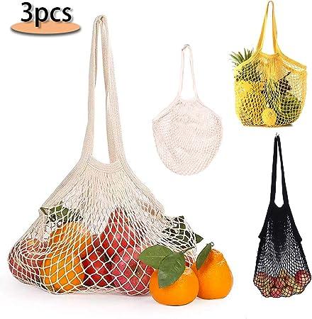 ♥Materias primas de alta calidad: nuestras bolsas de compras de red de algodón de mango corto están