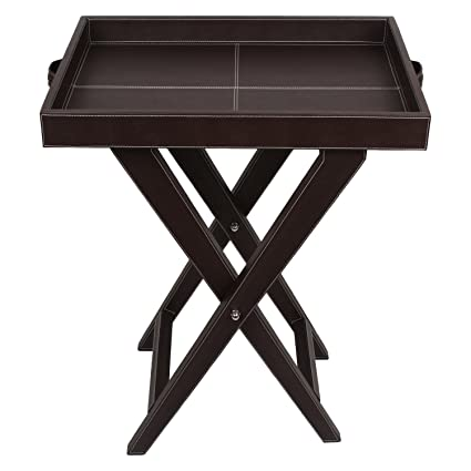 The Decor Mart - Faux Leather - Brown Butler Table - Pack of 1