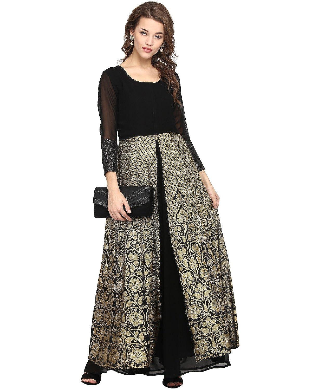 Amazon.com: Ahalyaa Anarkali Black & Gold Kurta With Skirt Combo for women: Clothing