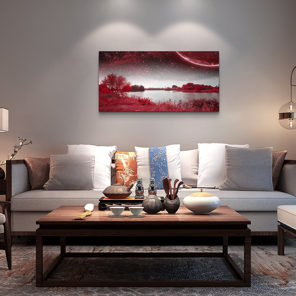wall art for living room Red Lakes and trees under the starry sky red landscape painting office Wall Art Decor 20 x 40 single Pieces Canvas Prints Ready to Hang for Home Decoration Works For bedroom