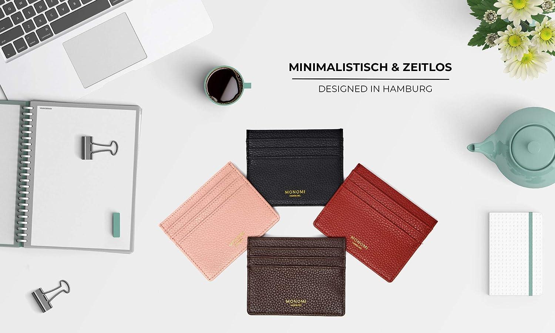 Monomi Kartenetui Aus Leder Kreditkartenetui Visitenkartenetui Portemonnaie Geldbörse Rfid Schutz 7 Fächer Damen Herren Slim Design Braun