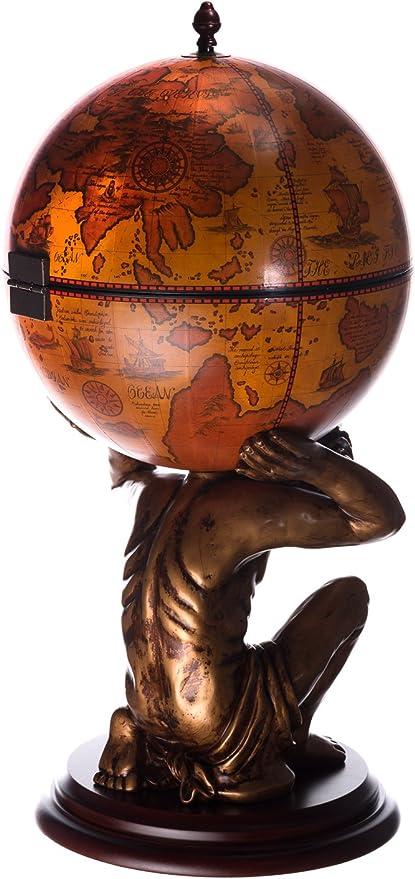 Palla di antichit/à Alto 112 cm Barra, con Ruote Marrone Antico Bar di casa con colonne in Legno di eucalipto Massiccio Carrello da Bar Gigante 45001 R