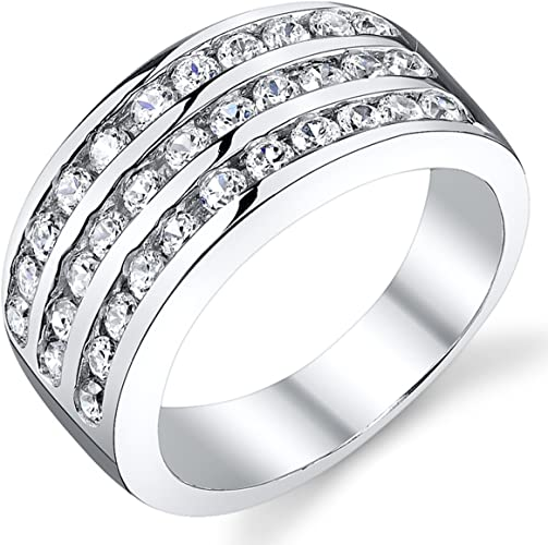 TVS-JEWELS Cubic Zirconia Three Row Engagement Band Ring for Mens Over Sterling Silver Black Plated