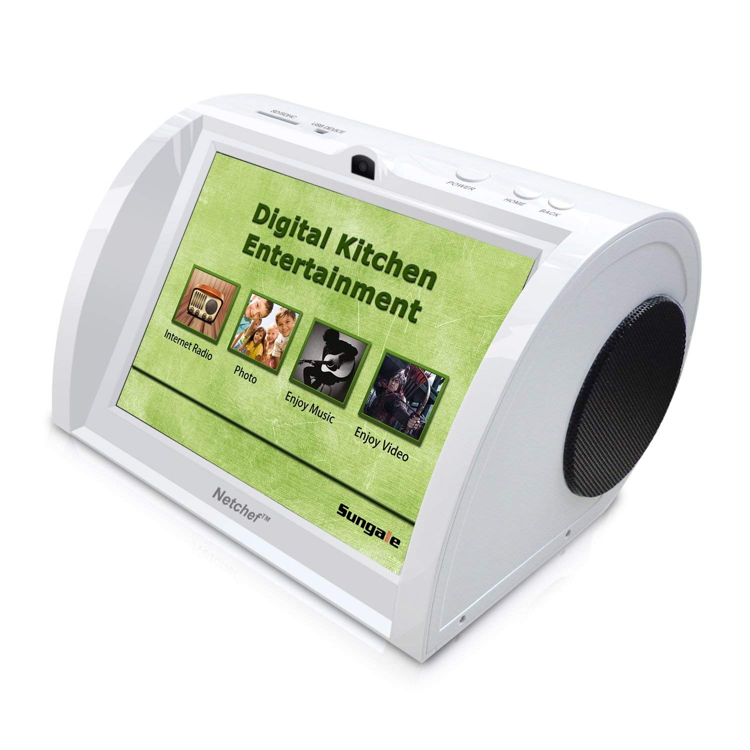 Kitchen Radio, Counter-top Entertainment Center, Hi-Fi Speakers, Audio Book, 15K+ Radio Stations, Streaming Videos, Movies, Music, Auto Wi-Fi, Social Media, Recipes, 8''Touch Panel by Sungale