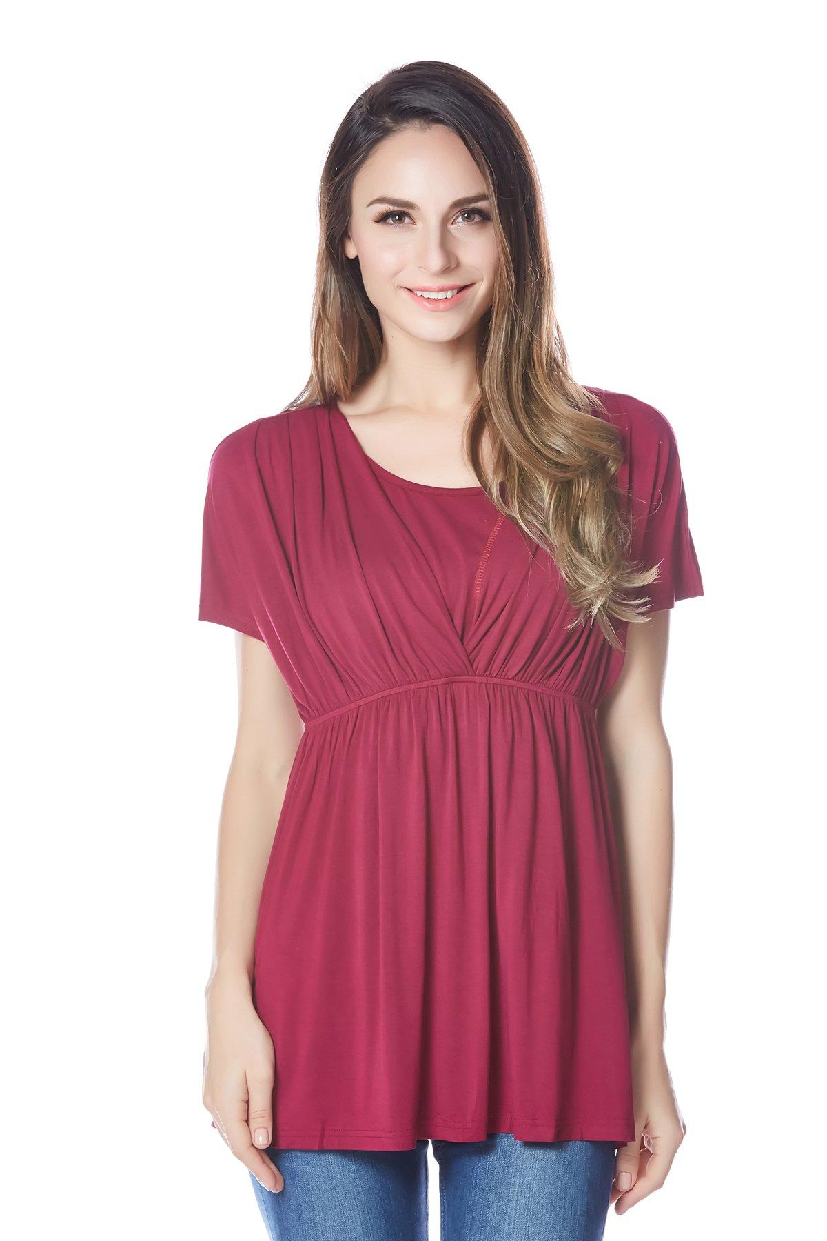Bearsland Women's Breastfeeding and Nursing Summer Top PurpleRed Size XL