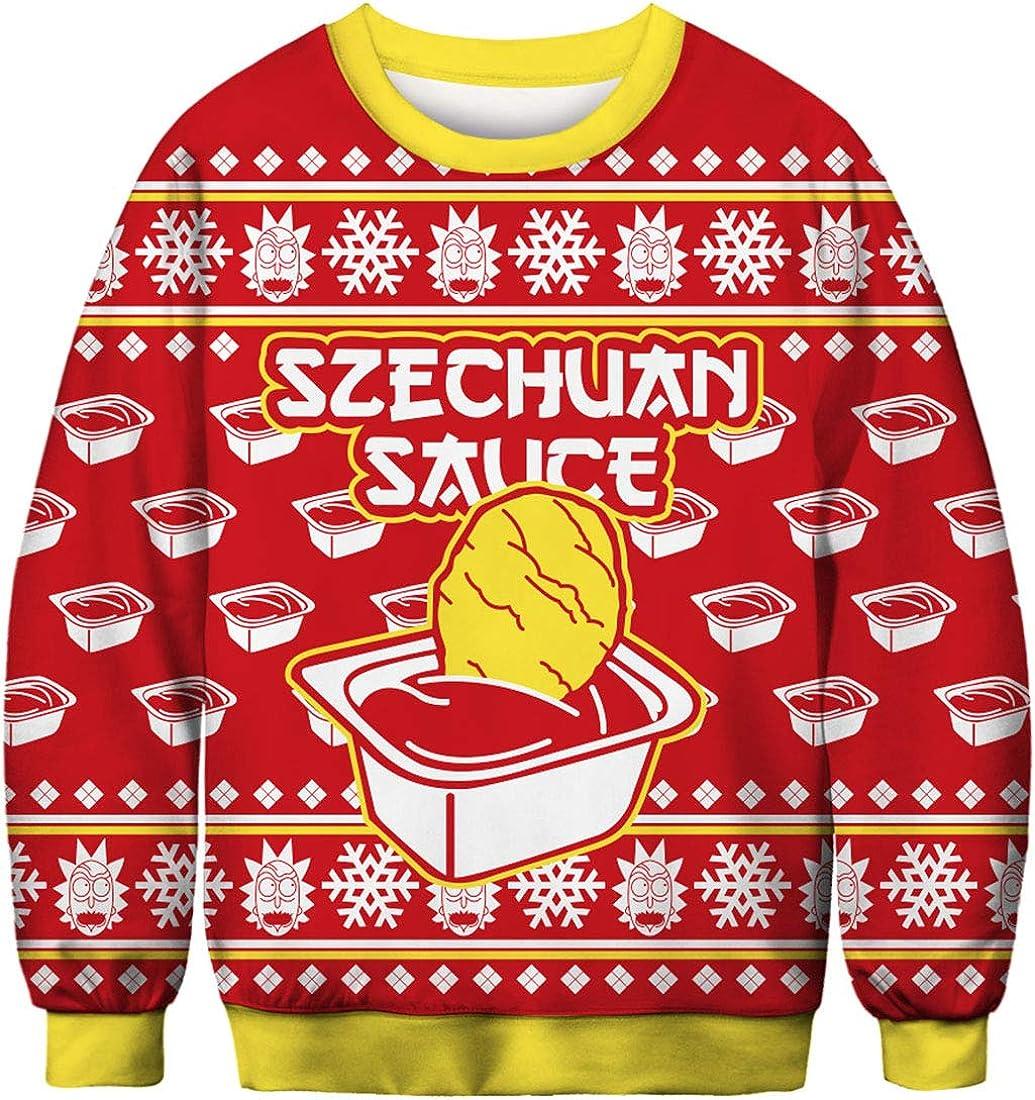 FLYCHEN Sudadera de Navidad Mujer Sin Capucha Impreso Funny 3D Christmas Colorido Divertido Sudaderas Cuello Redondo Azar Chicken with Ketchup - M