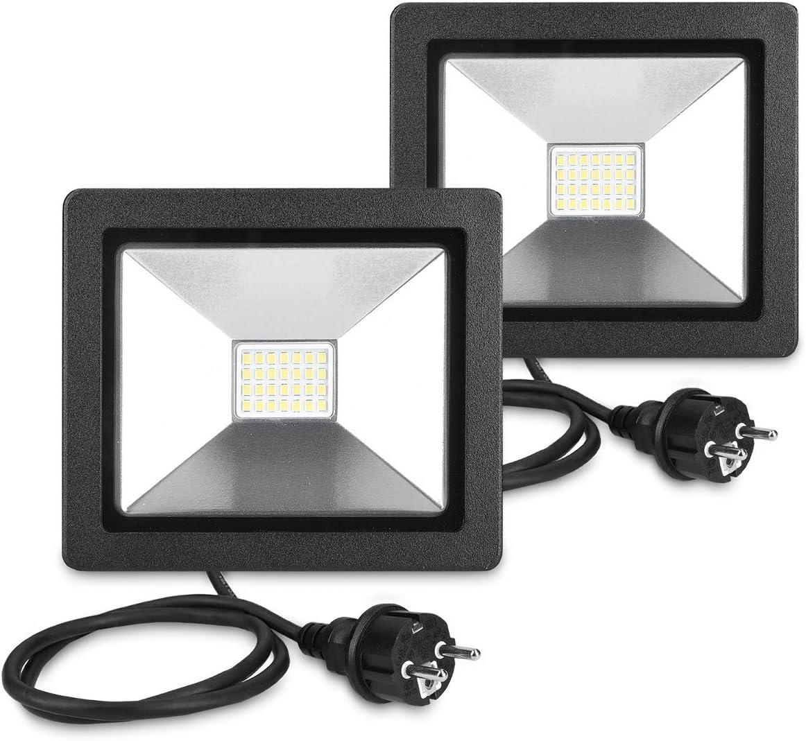 kwmobile 2x LED Flutlicht Baustrahler 20W Arbeitsleuchte Strahler mit 3m Netzkabel und Stecker Garten Scheinwerfer LED-Strahler Baustellen Lampe