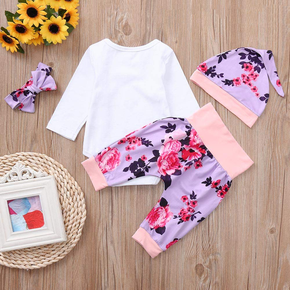 kaiCran Baby Clothes Girl Long Sleeve Cotton Outfits Clothing Sets Letter Print Romper,Floral Pants,Headbands,Hat