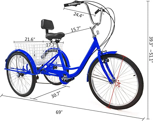 EOSAGA Adult Tricycles 7 Speed 24 26 Inch Trike Bike Three-Wheeled Bicycles Size for Shopping, Recreation with Large Basket, Lock, Bike Pump and Shopping Bag