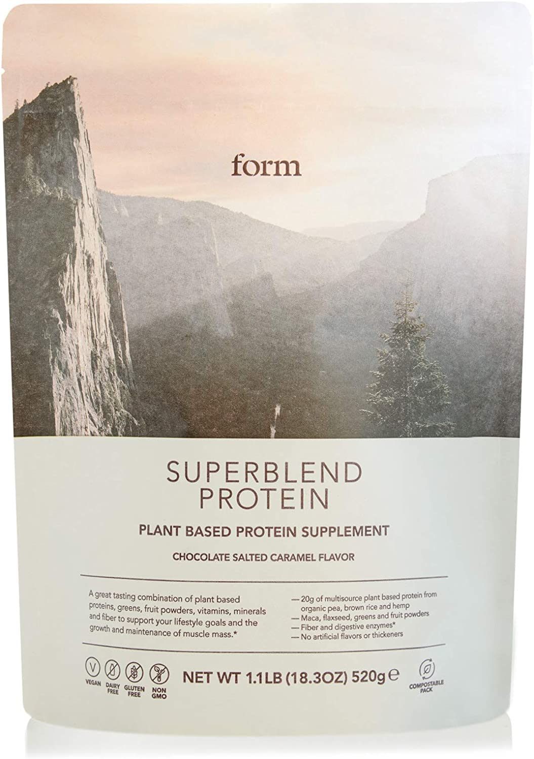 Form Superblend Protein - Vegan Protein Powder with Superfoods, Vitamins and Minerals (Chocolate Salted Caramel)