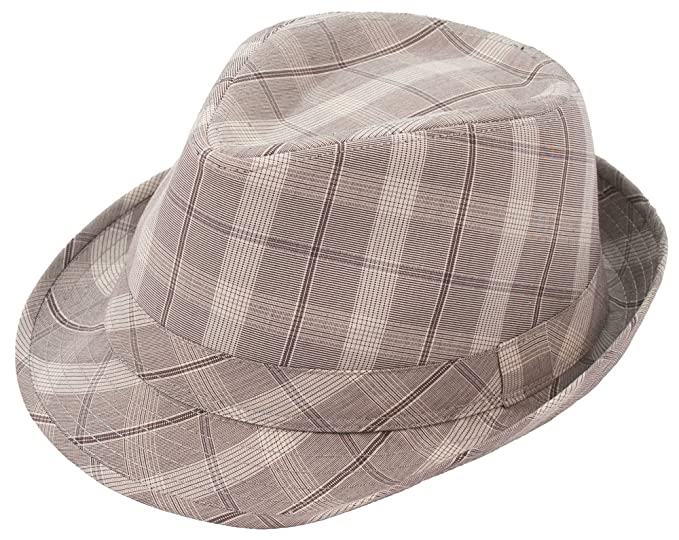 Amazon.com  Milani Check Style Fedora Hat with Matching Band  Clothing 1b2a6d10f8c