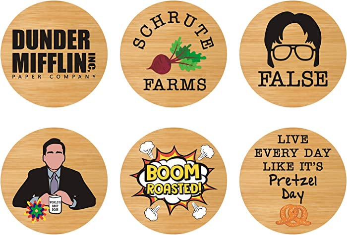 Huray Rayho The Office Bamboo Wood Coaster Set of 6 - The Office TV Show Gifts for Men and Women Prison Mike Dunder Mifflin Bears Beets Battlestar Galactica Housewarming Birthday Wedding Gift Idea
