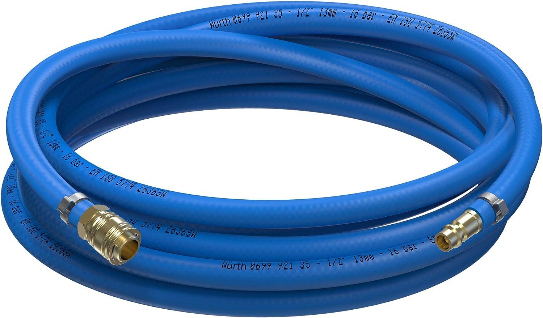 5m Meter, Innen /Ø 13mm Messing Schnellkupplung AUPROTEC Sicherheits Druckluftschlauch Set W/ürth PVC-Schlauch