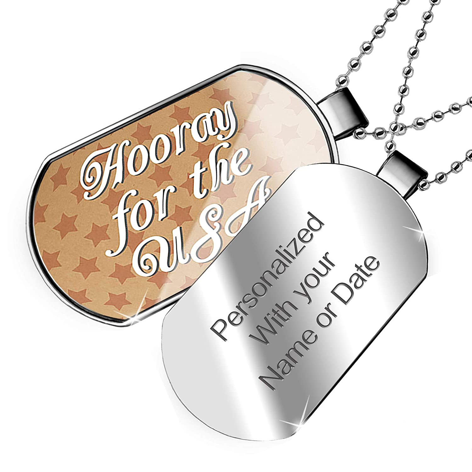 NEONBLOND Personalized Name Engraved Hooray for The USA Fourth of July Kraft Stars Dogtag Necklace