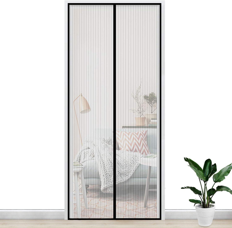 Gimars Cortina mosquitera doble magnetica puerta exterior sin tornillos, Mosquitera puerta corredera lateral con iman para terraza/habitacion 160 * 230 cm Fácil de instalar