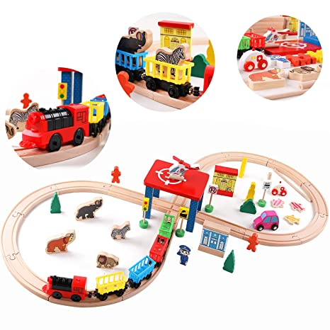 Qzmtoy Wood Train Set With 2 Side Thomas Brio Chuggington 30pc Magnetic Train Tracks Cars Airplane Animal Zoo Accessories For Boys Girls Game Toddler