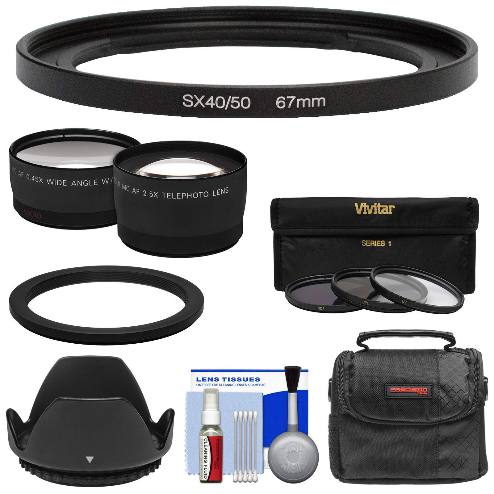 Bower FA-DC67A Adapter Ring (67mm) with Tele & Wide Lenses + Kit for Canon PowerShot SX50, SX60, SX70, SX520, SX530, SX540 HS