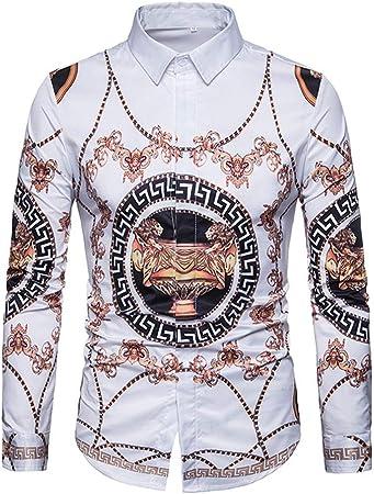 Weentop Camisa psicodélica para Hombre, con Estampado de Salpicaduras y Cuello de Solapa, Camisa de Manga Larga con Botones y Botones (Color : Blanco, tamaño : L): Amazon.es: Hogar