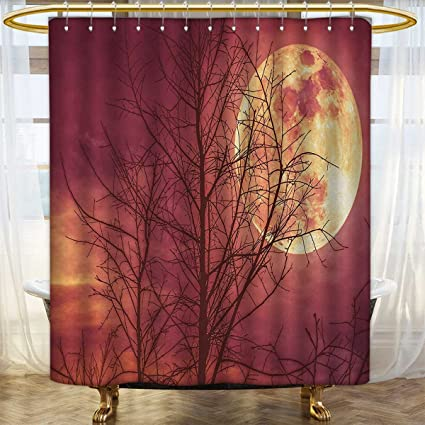Dark Red Shower Curtains 3D Digital Printing Night Sky Super Moon Behind Silhouette Of Dead Tree