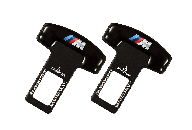 Pentaton - 2x fibbie per cintura di sicurezza per fermare gli allarmi in zinco e fibra di vetro, Nero, M AMK Racing