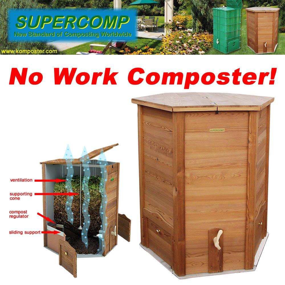 Vermicompostador de madera Supercomp - jardín compostera - sin retorno de la pila ya - 140 Gal: Amazon.es: Jardín