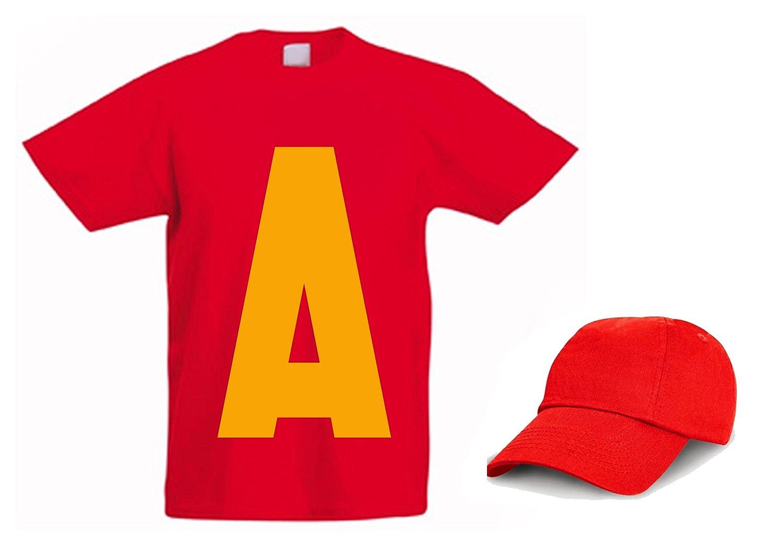 L'Arcobaleno di Luci - T-Shirt bambino Con A Grande Davanti Alvin Nome + Cappellino Maglietta 371859503840_parent