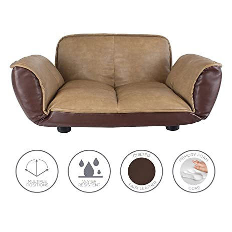 Dog Couch / Leather Dog Bed / Reclining Pet Sofa With Stylish Water  Resistant Faux Leather