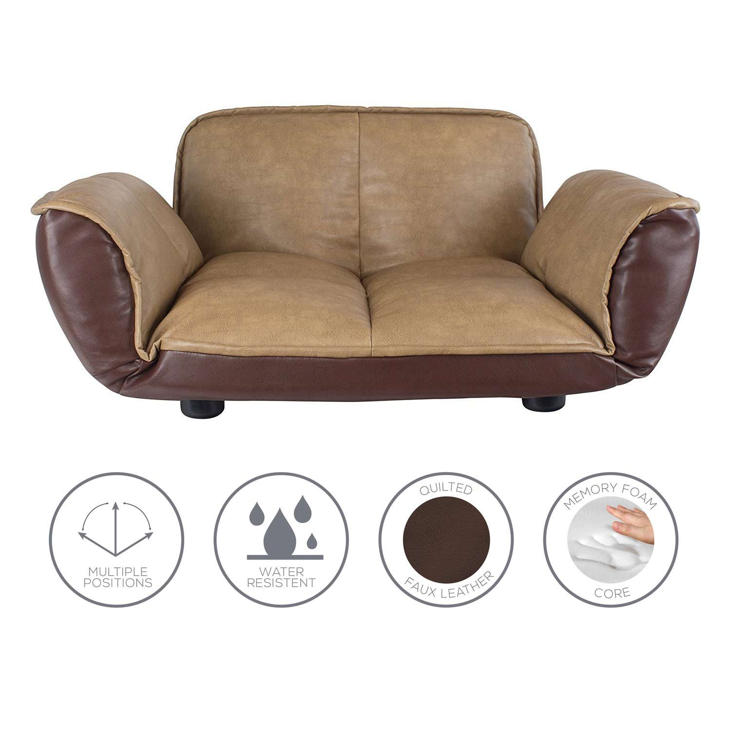 Dog Couch / Leather Dog Bed / Reclining Pet Sofa With Stylish Water Resistant Faux Leather Finish 28 in x 24 in x 14 / Dog Bed / Sofa Beds for Dogs By Frontpet Lux