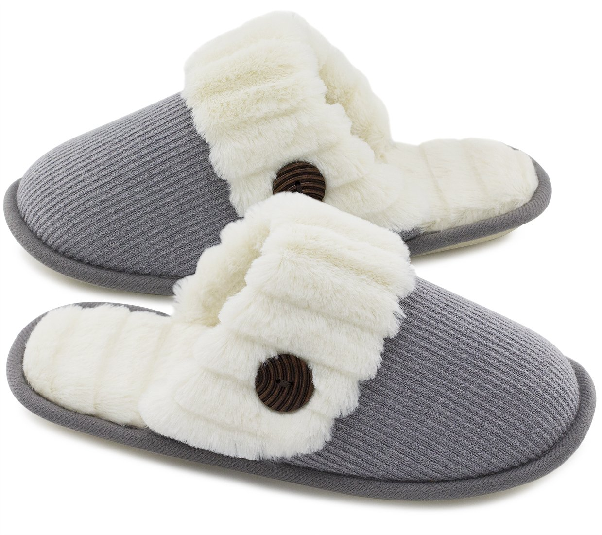 HomeTop Women's Cute Fuzzy Knitted Memory Foam Indoor House Slippers for Families Couples (39-40 (US Women's 9-10; Men's 7-8), Light Gray)