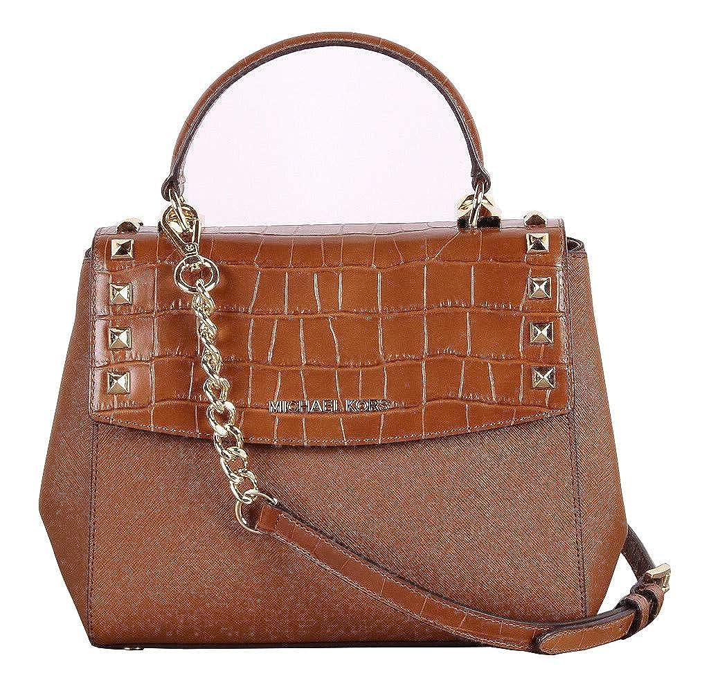 b34f19352410 Michael Kors Karla Top Handle Embossed Leather Satchel Crossbody (Medium,  Luggage): Amazon.ca: Shoes & Handbags