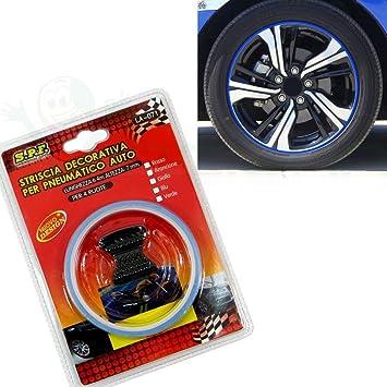Cinta adhesiva decorativa tira llantas de neumáticos auto tuning 6.4m coche AZUL: Amazon.es: Electrónica