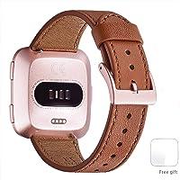 WFEAGL für Fitbit Versa Armband, Top Grain Lederband Ersatzband mit Edelstahl-Verschluss für Fitbit Versa Fitness Smart Watch