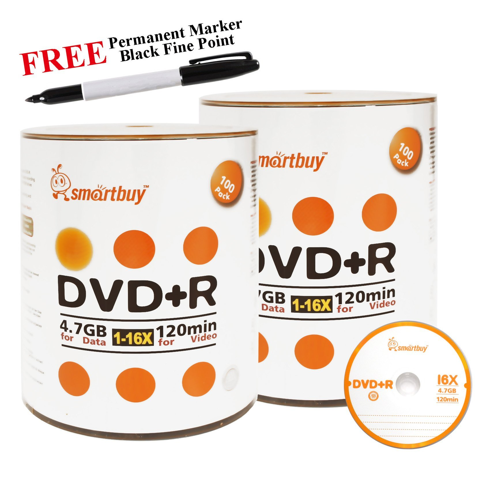 Smartbuy 200-disc 4.7GB/120min 16x DVD+R Logo Top Blank Media Record Disc + Black Permanent Marker