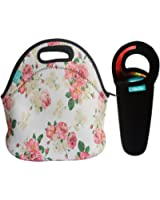 Bundle of Lunch Tote and Water Bottle Sleeve, OFEILY Insulated Neoprene Lunch Tote/Lunch box/Lunch bag with Black Wine tote/Beer/Water Drinks Bottles/Cans Carrying Bag (Flower in white)