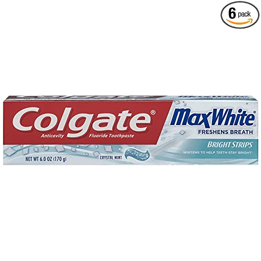 Colgate Max White Crystal Mint Toothpaste, 6.0-Ounce Packages (Pack of 6)