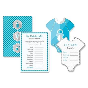 Babyparty Baby Shower Komplettset 16 Stück Spiel-Set S junge blau ...