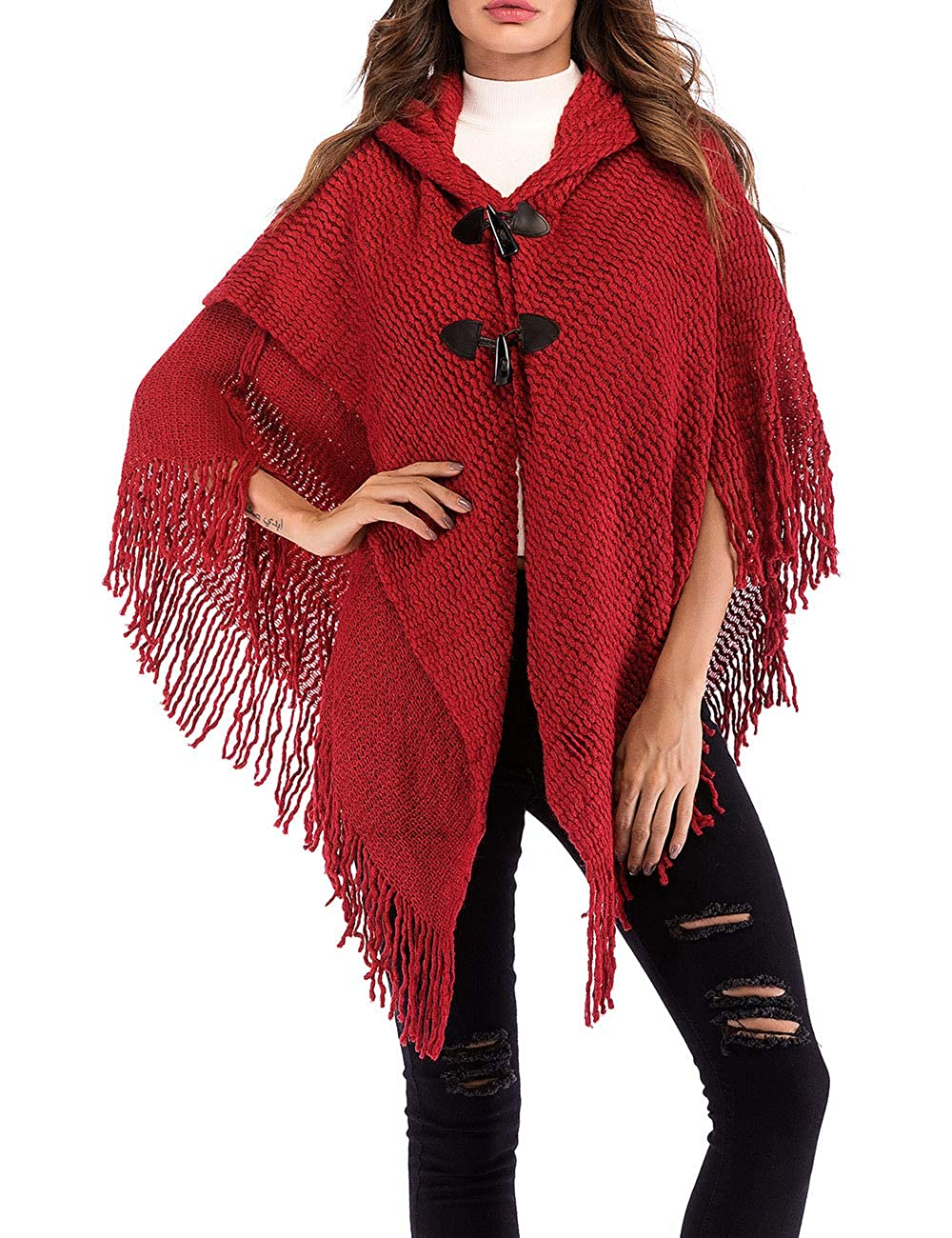 XXXITICAT Women's Hooded Sweater Tassel Knit Poncho Cloak Shawl Capes